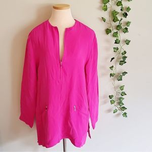 Emanuel Ungaro Silk Hot Pink Zip Pull Over